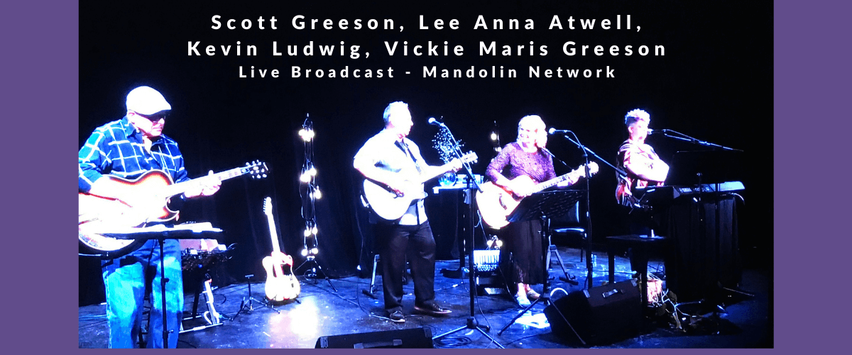Scott Greeson and members of his band playing a live broadcast on Mandolin Network, May 2, 2021